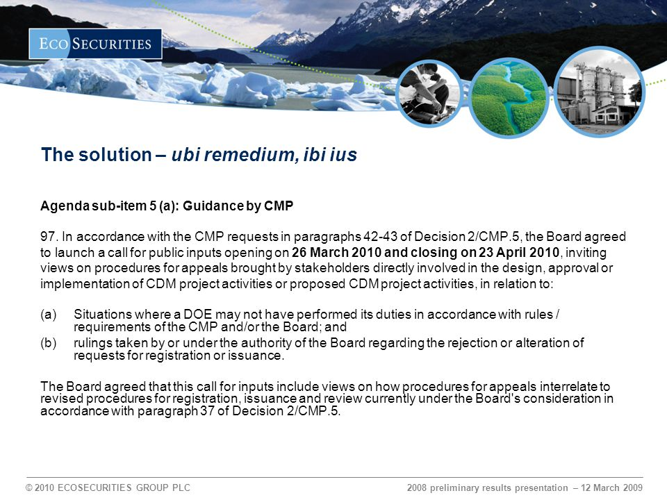 © 2010 ECOSECURITIES GROUP PLC Thank you Alexander Sarac General Counsel and Associate Director Tel.