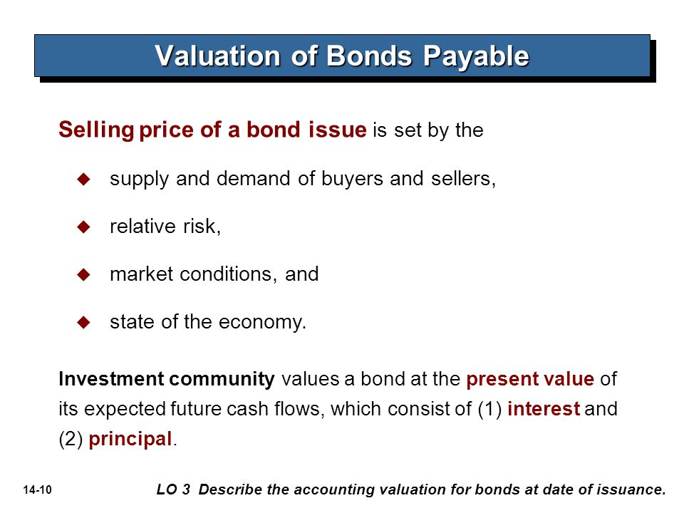 14-10 Valuation of Bonds Payable LO 3 Describe the accounting valuation for bonds at date of issuance. Selling price of a bond issue is set by the  