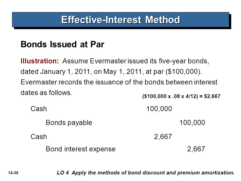 14-35 Illustration: Assume Evermaster issued its five-year bonds, dated January 1, 2011, on May 1, 2011, at par ($100,000). Evermaster records the iss