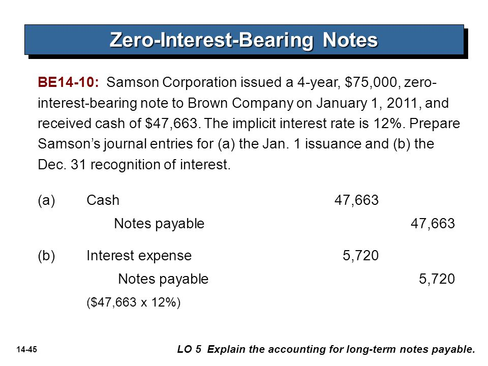 14-45 (a)Cash 47,663 Notes payable47,663 (b)Interest expense5,720 Notes payable 5,720 ($47,663 x 12%) LO 5 Explain the accounting for long-term notes