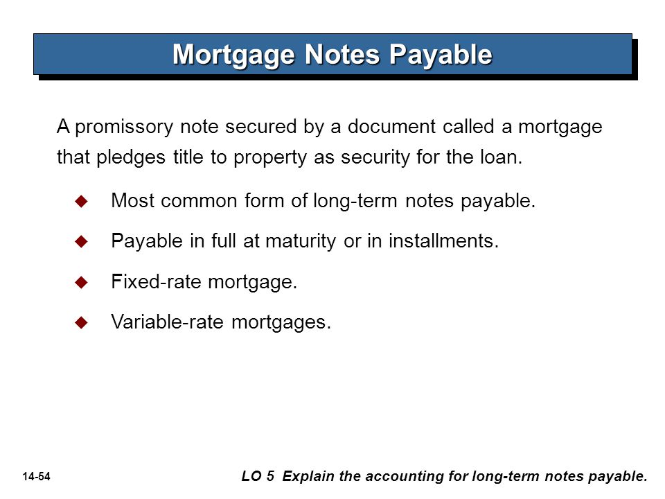 14-54 A promissory note secured by a document called a mortgage that pledges title to property as security for the loan. Mortgage Notes Payable LO 5 E