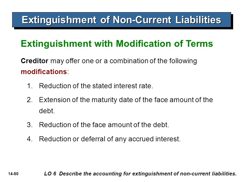 14-60 Extinguishment of Non-Current Liabilities LO 6 Describe the accounting for extinguishment of non-current liabilities. Extinguishment with Modifi