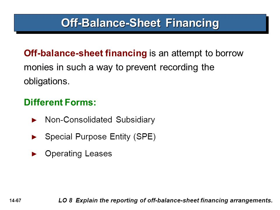 14-67 Off-balance-sheet financing is an attempt to borrow monies in such a way to prevent recording the obligations. Off-Balance-Sheet Financing LO 8
