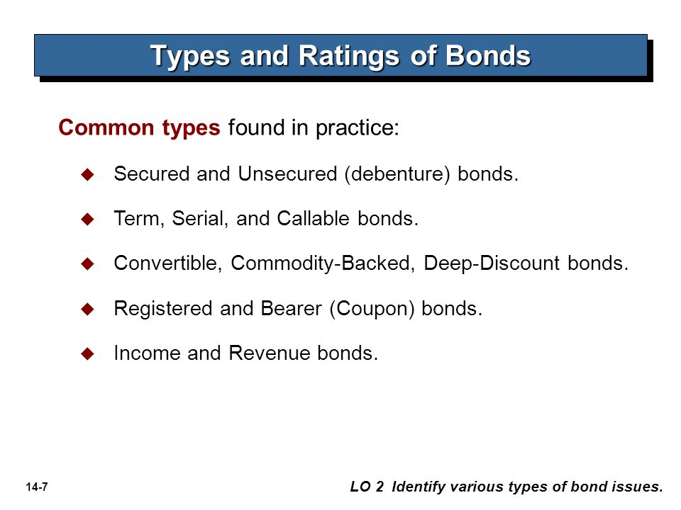14-7 Types and Ratings of Bonds LO 2 Identify various types of bond issues. Common types found in practice:   Secured and Unsecured (debenture) bond