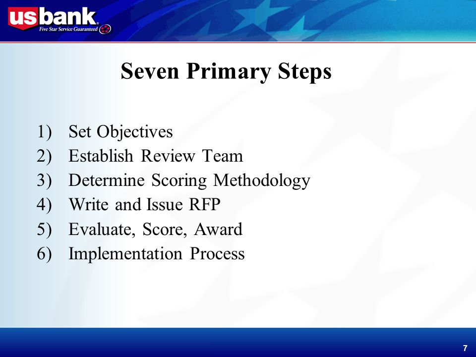 Enhancement Template 7 7 Seven Primary Steps 1)Set Objectives 2)Establish Review Team 3)Determine Scoring Methodology 4)Write and Issue RFP 5)Evaluate, Score, Award 6)Implementation Process