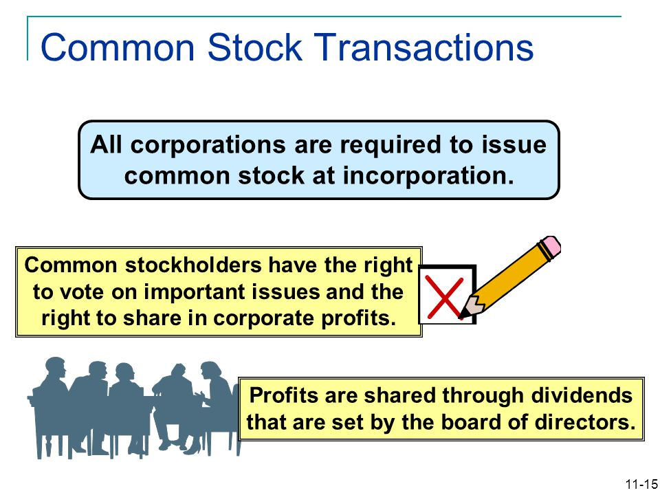 11-15 All corporations are required to issue common stock at incorporation. Common stockholders have the right to vote on important issues and the rig