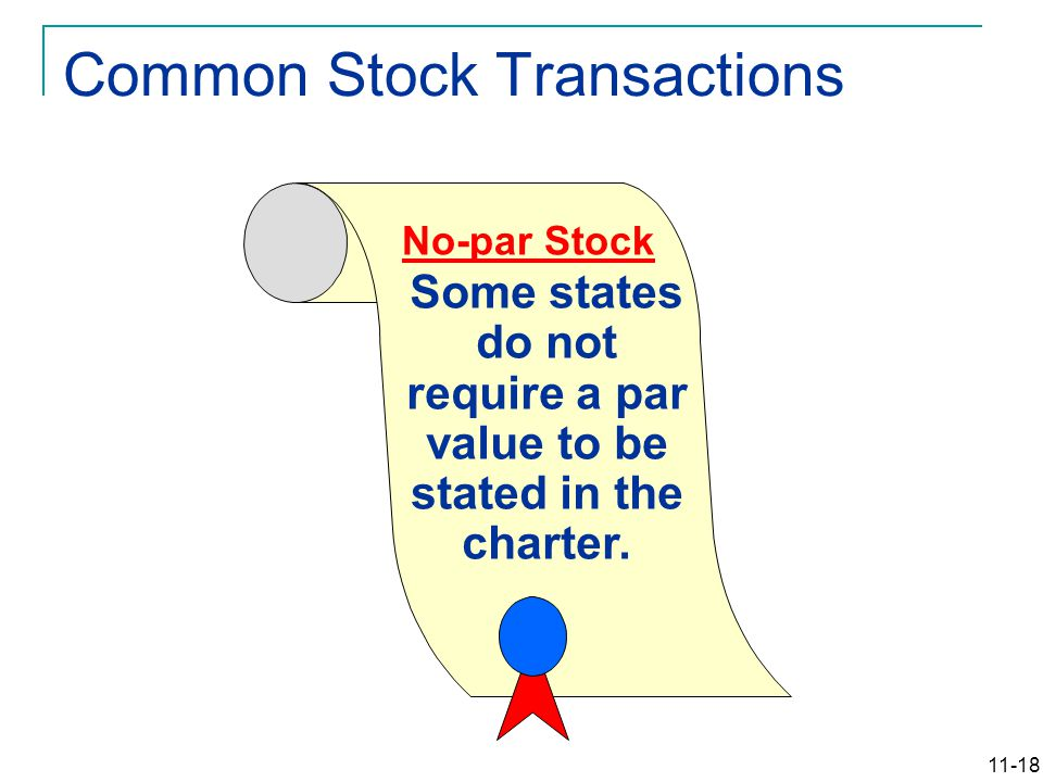 11-18 Some states do not require a par value to be stated in the charter.