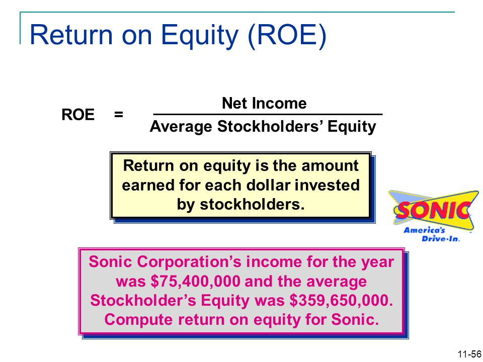 11-56 Return on Equity (ROE) Net Income Average Stockholders' Equity ROE = Sonic Corporation's income for the year was $75,400,000 and the average Sto