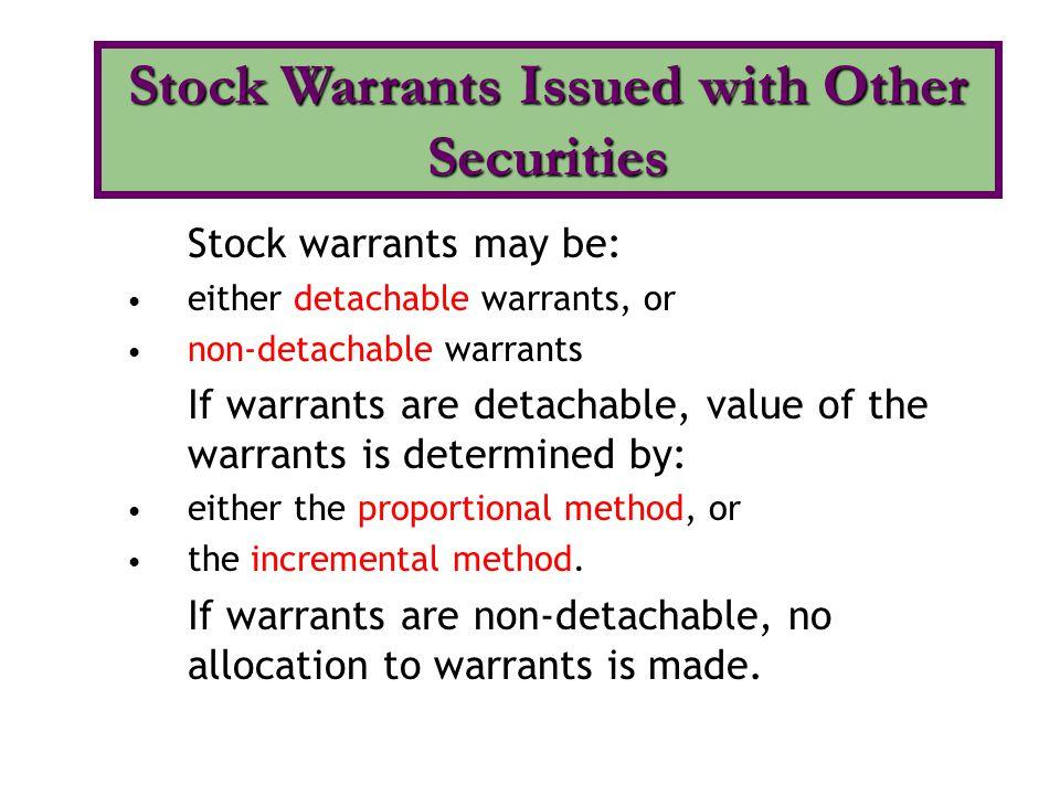 Given: Bonds, with a par value of $10,000 and detachable warrants, are sold at par.