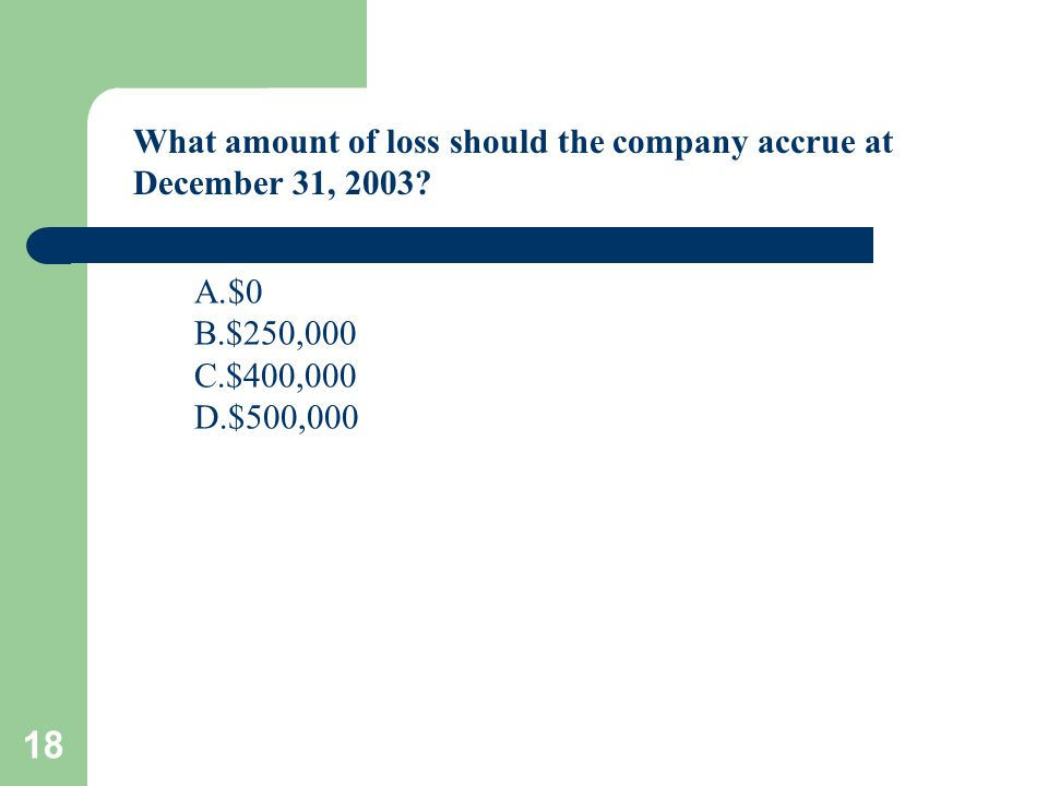 18 What amount of loss should the company accrue at December 31, 2003? A.$0 B.$250,000 C.$400,000 D.$500,000