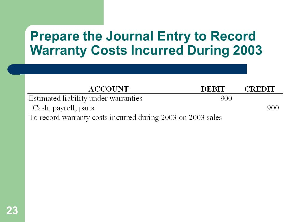 23 Prepare the Journal Entry to Record Warranty Costs Incurred During 2003