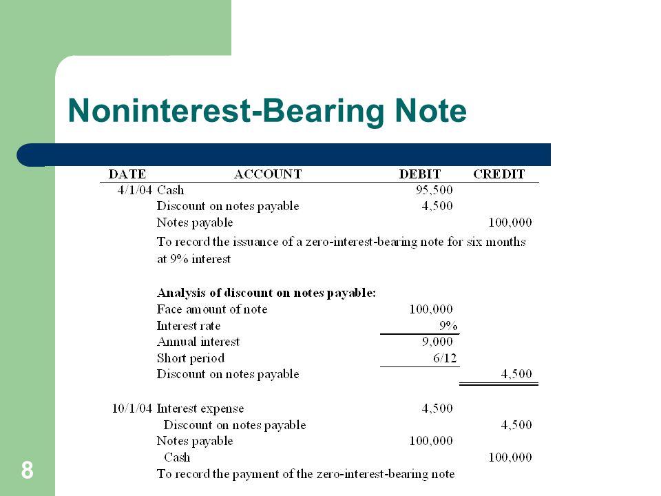 8 Noninterest-Bearing Note