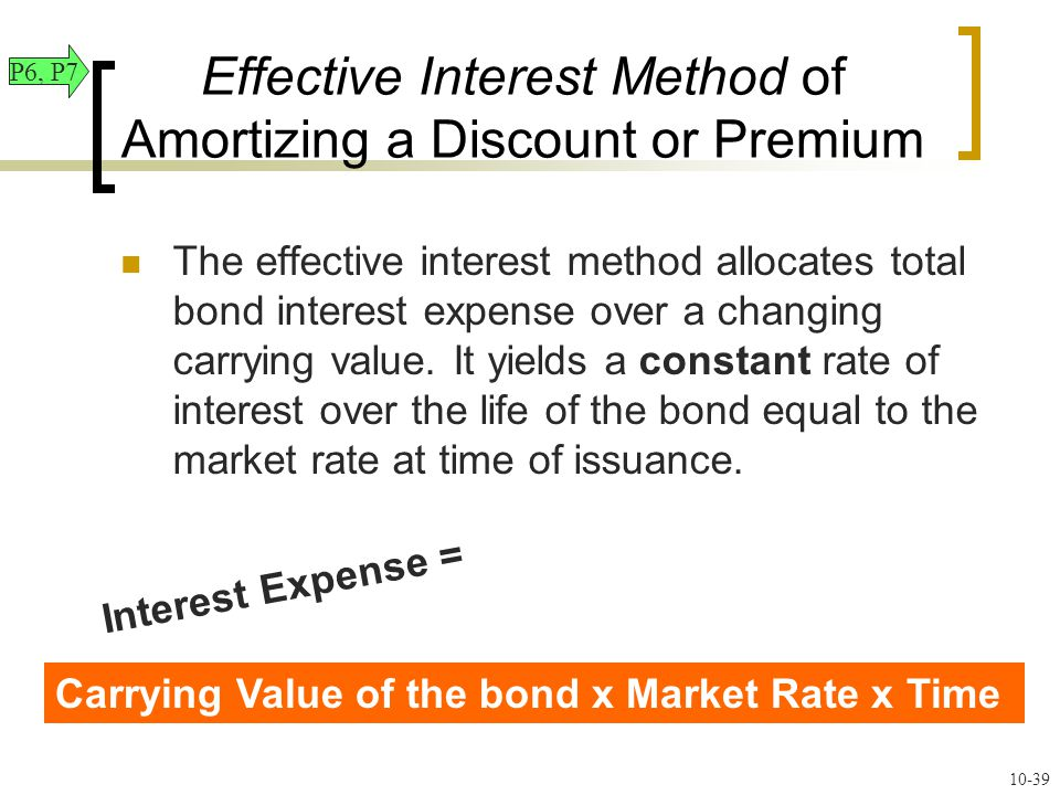 Effective Interest Method of Amortizing a Discount or Premium The effective interest method allocates total bond interest expense over a changing carrying value.