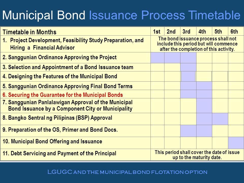 Municipal Bond Issuance Process Timetable 10.