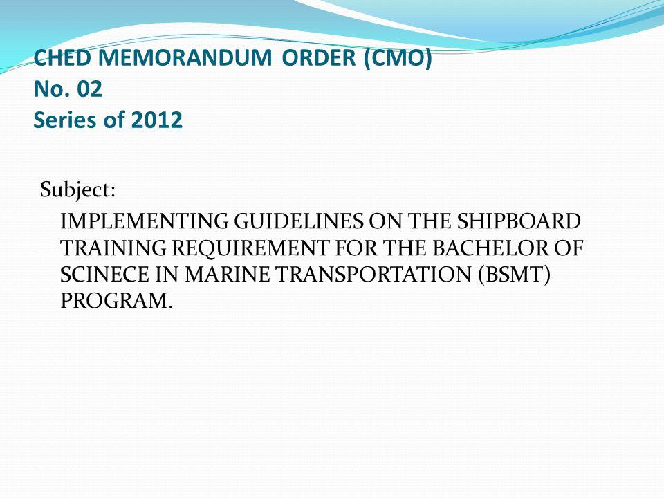CHED MEMORANDUM ORDER (CMO) No.