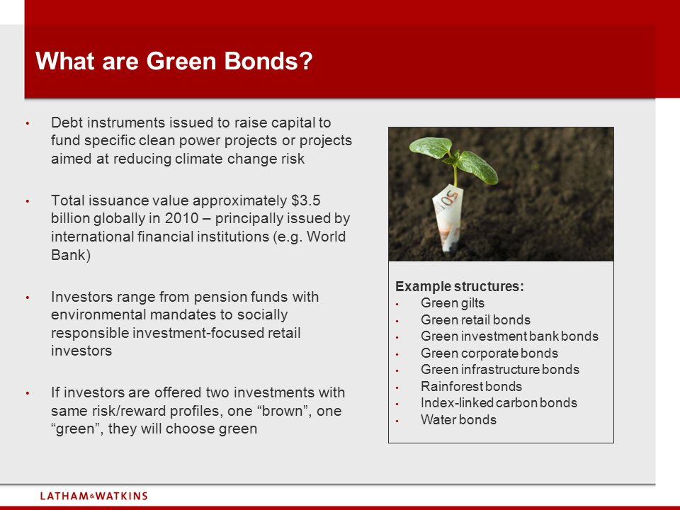 What are Green Bonds? Debt instruments issued to raise capital to fund specific clean power projects or projects aimed at reducing climate change risk