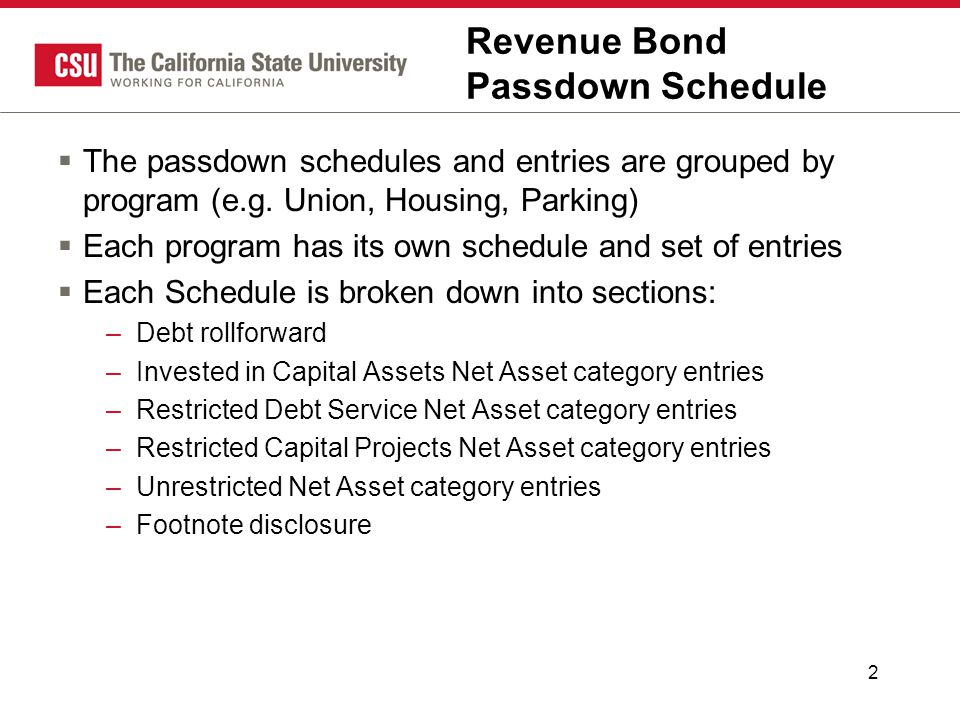 2 Revenue Bond Passdown Schedule  The passdown schedules and entries are grouped by program (e.g. Union, Housing, Parking)  Each program has its own