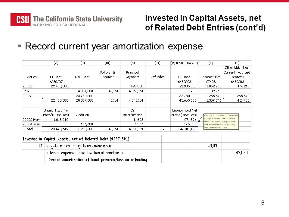 6 Invested in Capital Assets, net of Related Debt Entries (cont'd)  Record current year amortization expense
