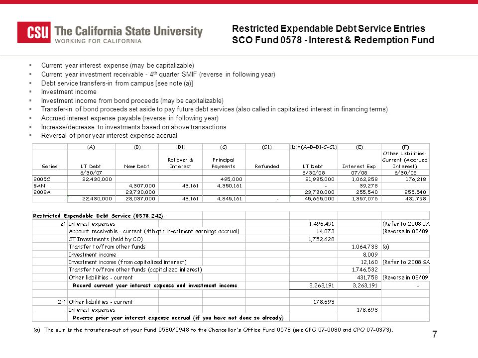 7 Restricted Expendable Debt Service Entries SCO Fund 0578 - Interest & Redemption Fund  Current year interest expense (may be capitalizable)  Current year investment receivable - 4 th quarter SMIF (reverse in following year)  Debt service transfers-in from campus [see note (a)]  Investment income  Investment income from bond proceeds (may be capitalizable)  Transfer-in of bond proceeds set aside to pay future debt services (also called in capitalized interest in financing terms)  Accrued interest expense payable (reverse in following year)  Increase/decrease to investments based on above transactions  Reversal of prior year interest expense accrual
