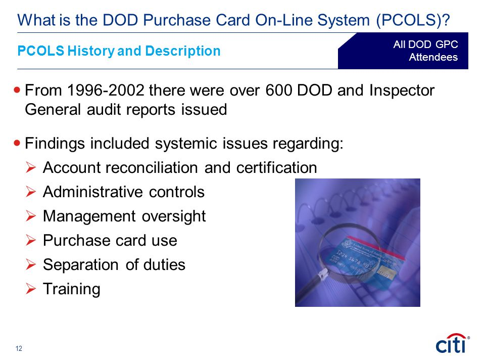 12 From 1996-2002 there were over 600 DOD and Inspector General audit reports issued Findings included systemic issues regarding:  Account reconcilia