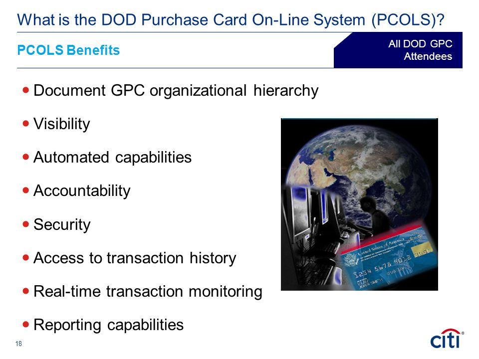 18 Document GPC organizational hierarchy Visibility Automated capabilities Accountability Security Access to transaction history Real-time transaction