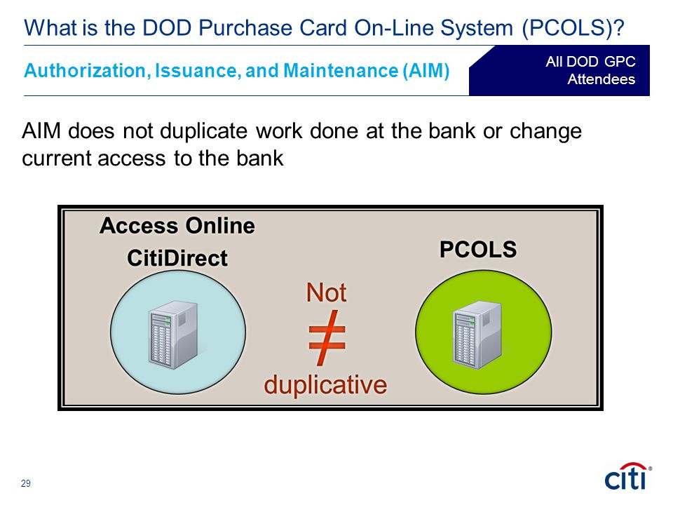 29 AIM does not duplicate work done at the bank or change current access to the bank Authorization, Issuance, and Maintenance (AIM) ® What is the DOD