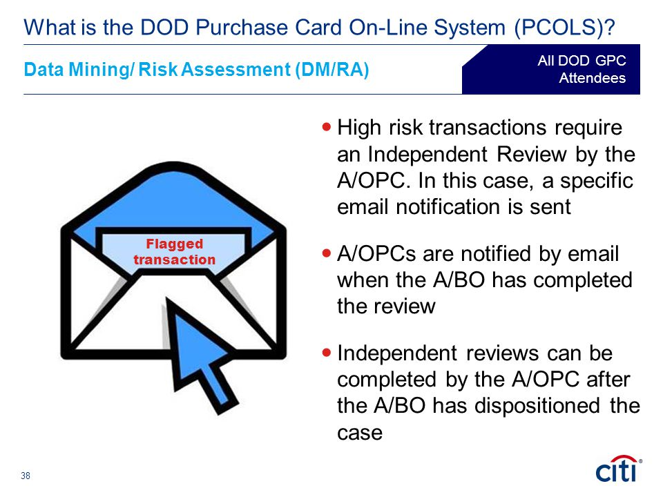 38 High risk transactions require an Independent Review by the A/OPC. In this case, a specific email notification is sent A/OPCs are notified by email