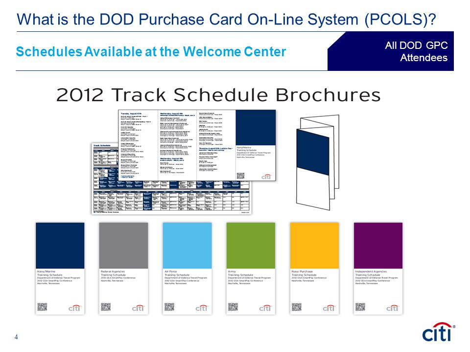 ® Schedules Available at the Welcome Center All DOD GPC Attendees 4 What is the DOD Purchase Card On-Line System (PCOLS)?