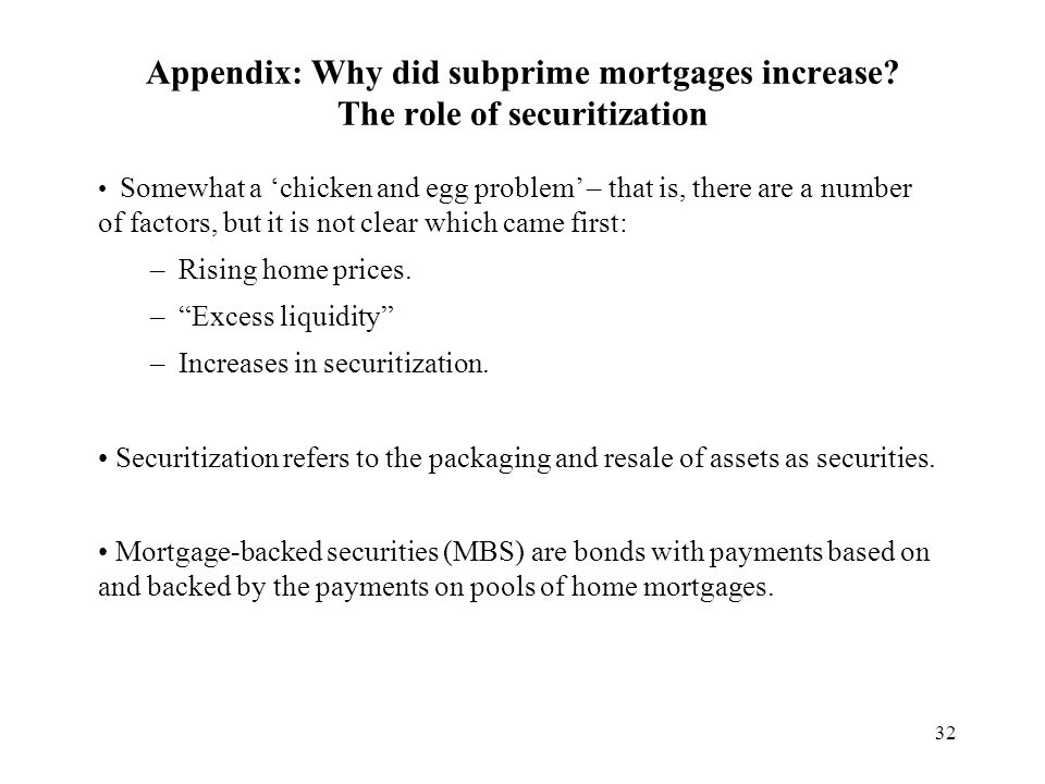 32 Appendix: Why did subprime mortgages increase.