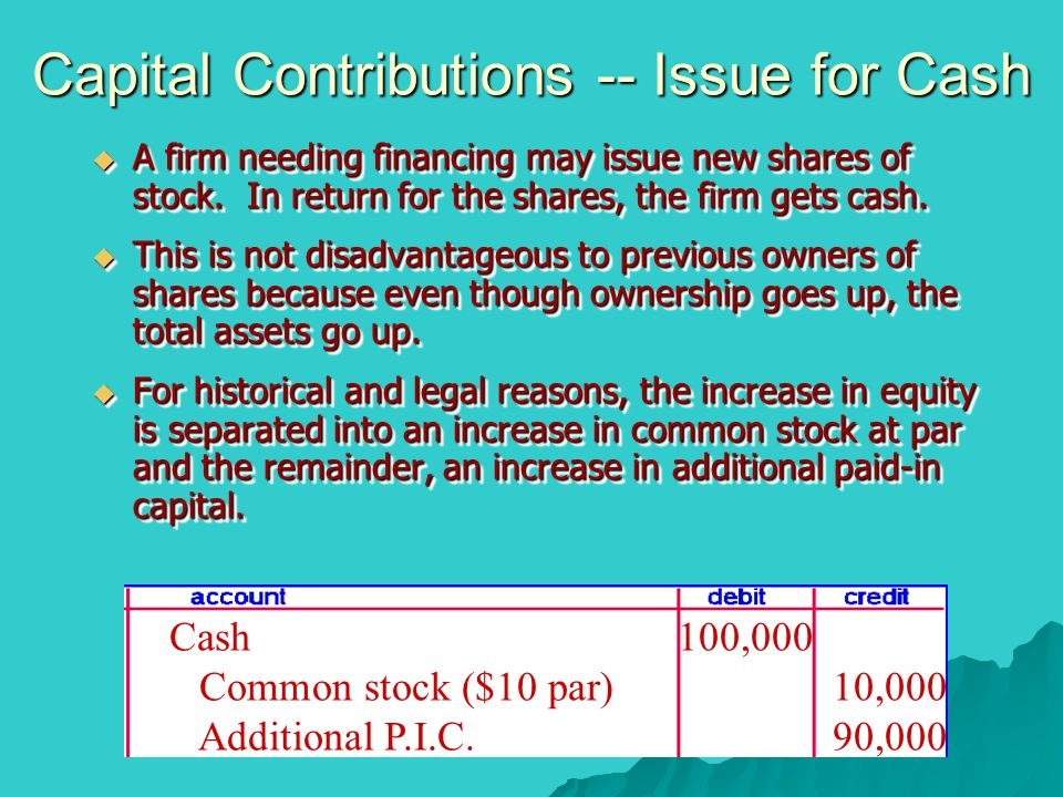 Capital Contributions -- Issue for Cash  A firm needing financing may issue new shares of stock. In return for the shares, the firm gets cash.  This