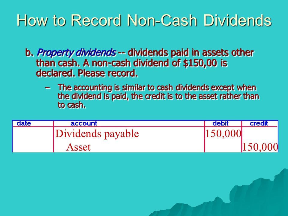 How to Record Non-Cash Dividends b. Property dividends -- dividends paid in assets other than cash. A non-cash dividend of $150,00 is declared. Please