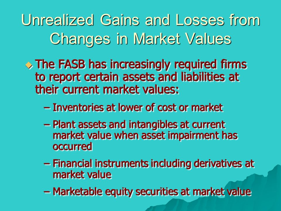 Unrealized Gains and Losses from Changes in Market Values  The FASB has increasingly required firms to report certain assets and liabilities at their
