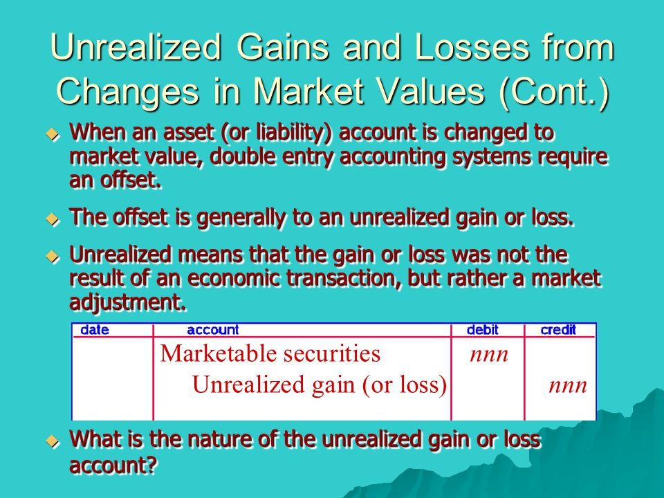 Unrealized Gains and Losses from Changes in Market Values (Cont.)  When an asset (or liability) account is changed to market value, double entry acco