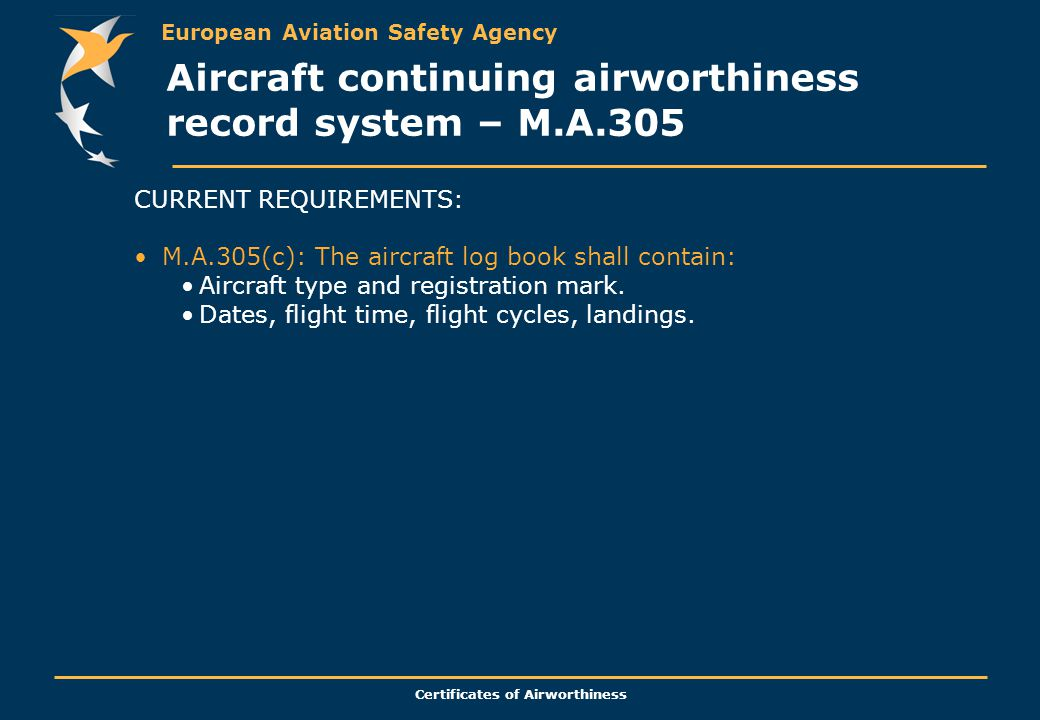 European Aviation Safety Agency Certificates of Airworthiness CURRENT REQUIREMENTS: M.A.305(c): The aircraft log book shall contain: Aircraft type and