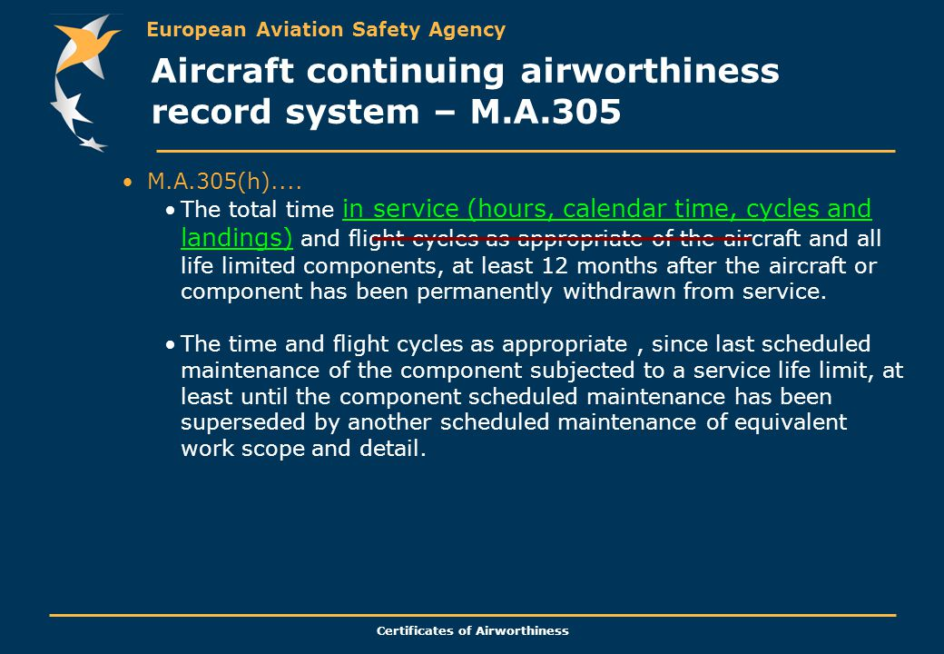 European Aviation Safety Agency Certificates of Airworthiness M.A.305(h).... The total time in service (hours, calendar time, cycles and landings) and