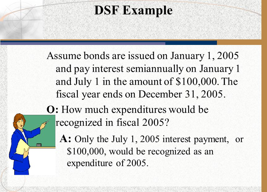 DSF Example Assume bonds are issued on January 1, 2005 and pay interest semiannually on January 1 and July 1 in the amount of $100,000.