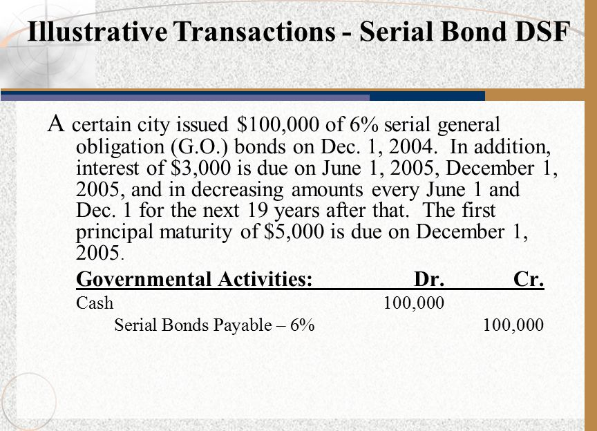 A certain city issued $100,000 of 6% serial general obligation (G.O.) bonds on Dec.