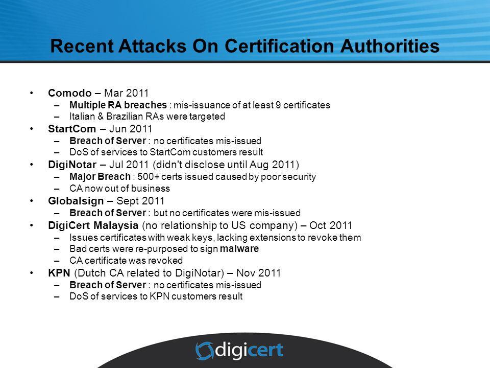 Recent Attacks On Certification Authorities Comodo – Mar 2011 –Multiple RA breaches : mis-issuance of at least 9 certificates –Italian & Brazilian RAs were targeted StartCom – Jun 2011 –Breach of Server : no certificates mis-issued –DoS of services to StartCom customers result DigiNotar – Jul 2011 (didn t disclose until Aug 2011) –Major Breach : 500+ certs issued caused by poor security –CA now out of business Globalsign – Sept 2011 –Breach of Server : but no certificates were mis-issued DigiCert Malaysia (no relationship to US company) – Oct 2011 –Issues certificates with weak keys, lacking extensions to revoke them –Bad certs were re-purposed to sign malware –CA certificate was revoked KPN (Dutch CA related to DigiNotar) – Nov 2011 –Breach of Server : no certificates mis-issued –DoS of services to KPN customers result