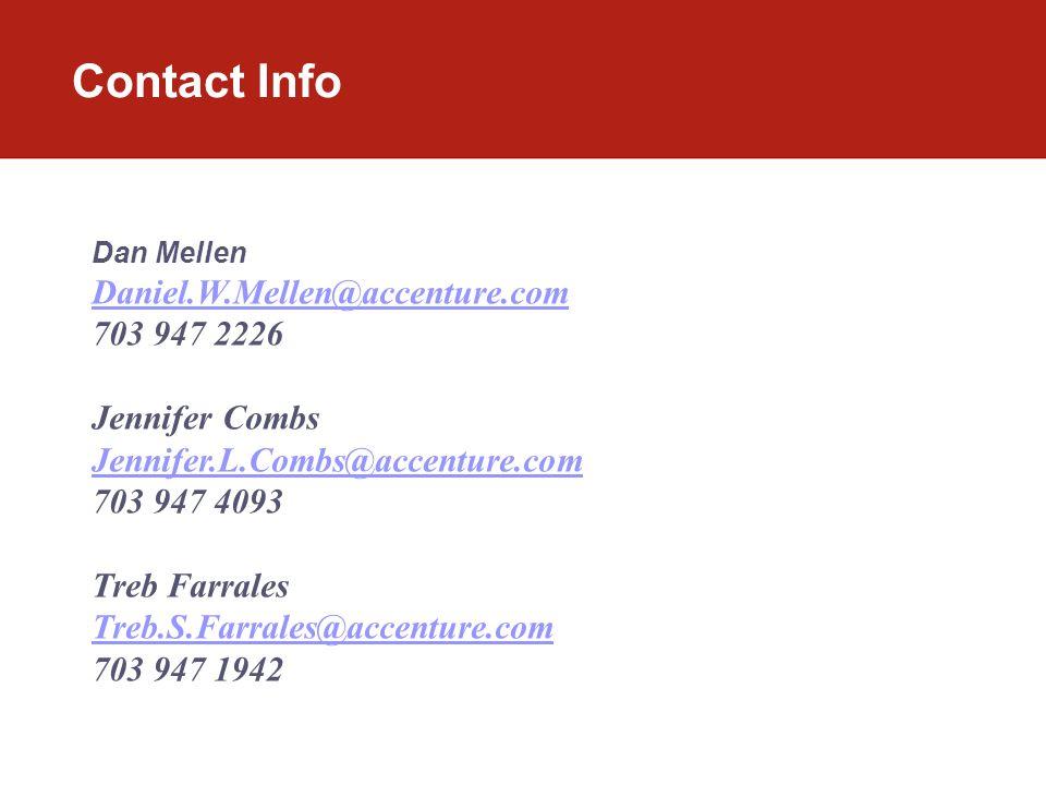 Contact Info Dan Mellen Daniel.W.Mellen@accenture.com 703 947 2226 Jennifer Combs Jennifer.L.Combs@accenture.com 703 947 4093 Treb Farrales Treb.S.Farrales@accenture.com 703 947 1942