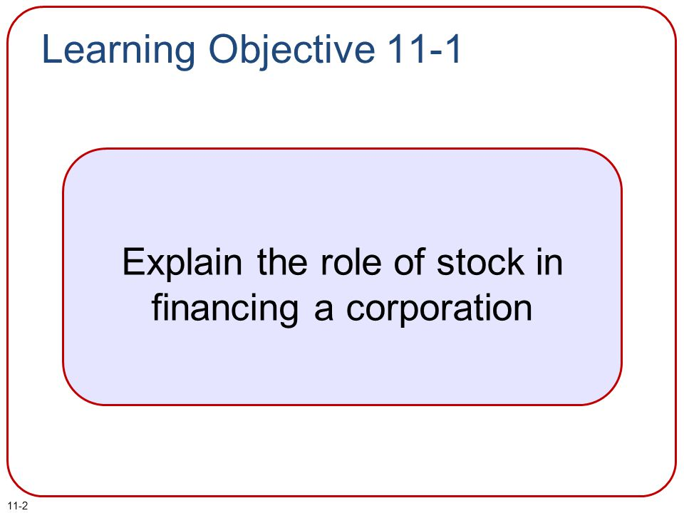 11-2 Learning Objective 11-1 Explain the role of stock in financing a corporation