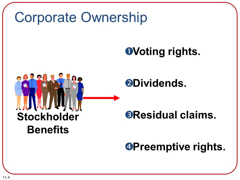 11-4  Voting rights. Dividends.  Residual claims.