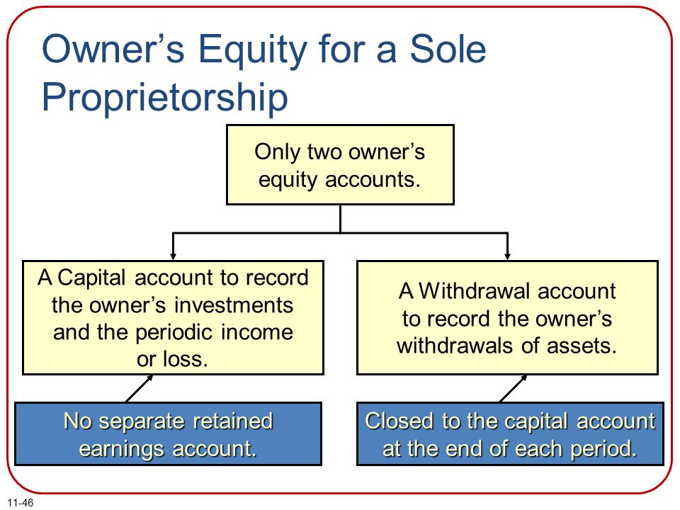 11-46 Owner's Equity for a Sole Proprietorship Only two owner's equity accounts.