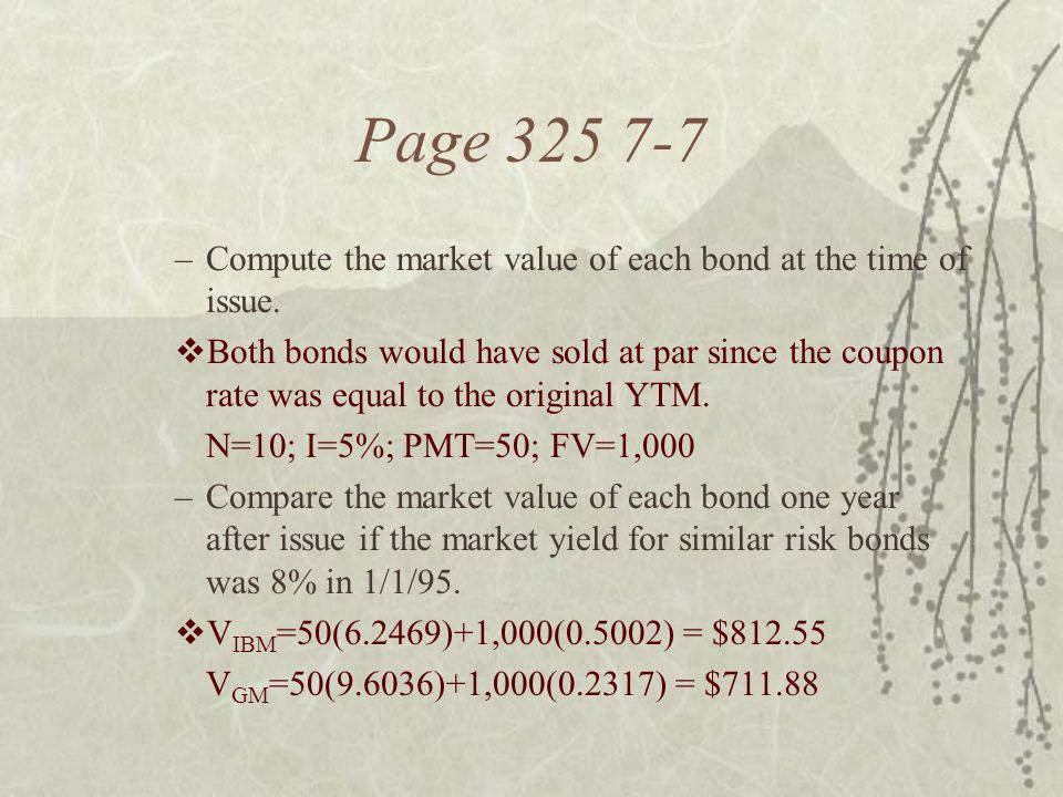 Page 325 7-7 –Compute the market value of each bond at the time of issue.  Both bonds would have sold at par since the coupon rate was equal to the o