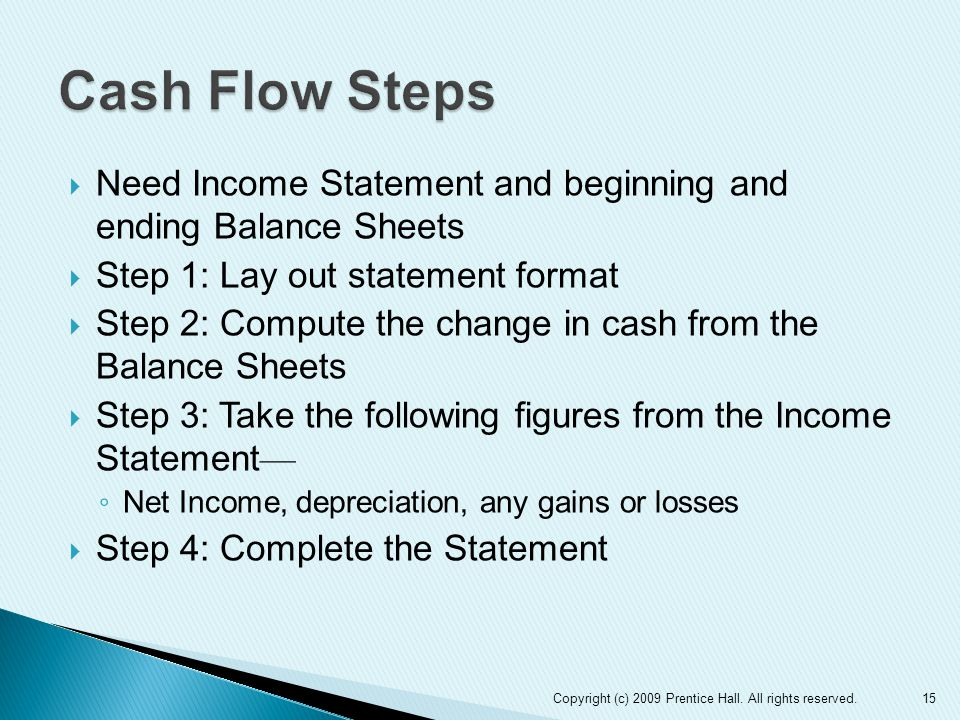  Need Income Statement and beginning and ending Balance Sheets  Step 1: Lay out statement format  Step 2: Compute the change in cash from the Balance Sheets  Step 3: Take the following figures from the Income Statement — ◦ Net Income, depreciation, any gains or losses  Step 4: Complete the Statement 15Copyright (c) 2009 Prentice Hall.