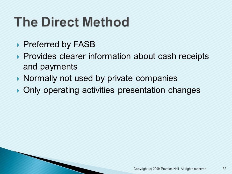  Preferred by FASB  Provides clearer information about cash receipts and payments  Normally not used by private companies  Only operating activities presentation changes 32Copyright (c) 2009 Prentice Hall.