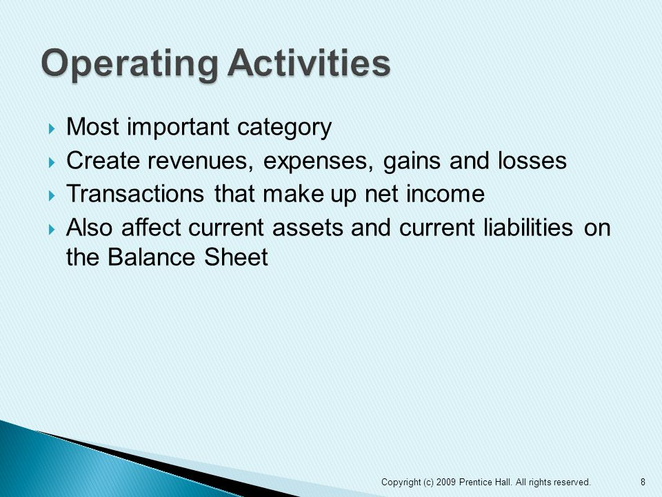  Most important category  Create revenues, expenses, gains and losses  Transactions that make up net income  Also affect current assets and current liabilities on the Balance Sheet 8Copyright (c) 2009 Prentice Hall.