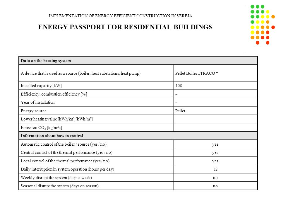 "ENERGY PASSPORT FOR RESIDENTIAL BUILDINGS IMPLEMENTATION OF ENERGY EFFICIENT CONSTRUCTION IN SERBIA Data on the heating system A device that is used as a source (boiler, heat substations, heat pump)Pellet Boiler ""TRACO Installed capacity [kW]100 Efficiency, combustion efficiency [%]- Year of installation- Energy sourcePellet Lower heating value [kWh/kg] [kWh/m 3 ] Emission CO 2 [kg/m 2 a] Information about how to control Automatic control of the boiler / source (yes / no)yes Central control of the thermal performance (yes / no)yes Local control of the thermal performance (yes / no)yes Daily interruption in system operation (hours per day)12 Weekly disrupt the system (days a week)no Seasonal disrupt the system (days on season)no"