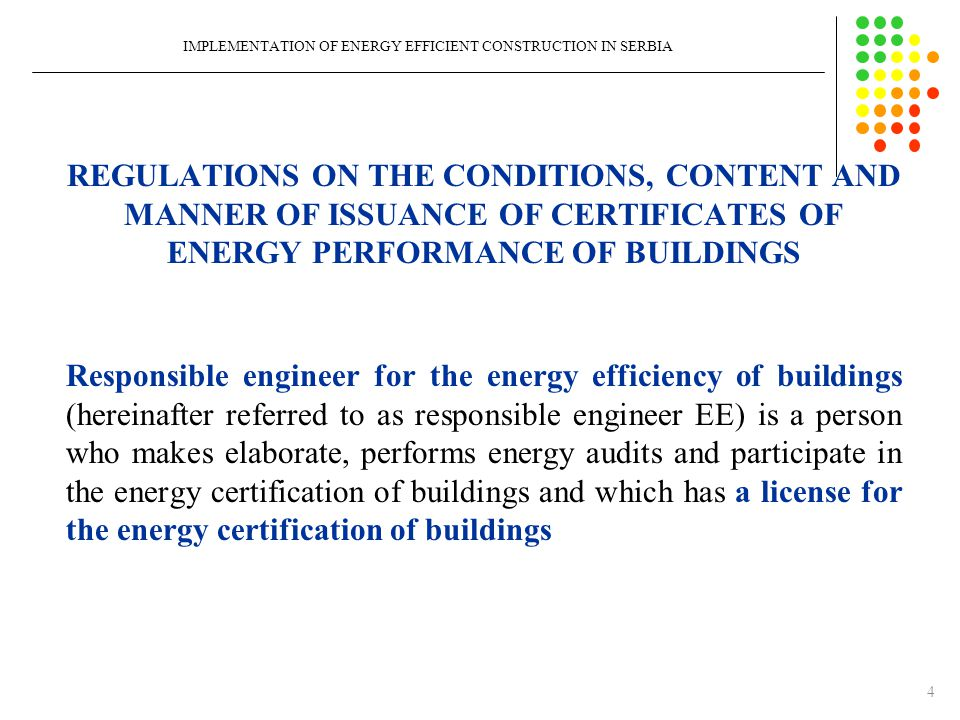 ENERGY PASSPORT FOR RESIDENTIAL BUILDINGS IMPLEMENTATION OF ENERGY EFFICIENT CONSTRUCTION IN SERBIA Data on thermal building envelopeU [W/(m 2 K)]U max [W/(m 2 K)] Fulfilled YES / NO External walls0,210,3YES External walls0,360,3NO The inner wall toward unheated space0,380,4YES The inner wall toward unheated space0,380,4NO The inner wall toward unheated space2,410,4NO Mezzanine structure to the unheated attic0,1920,3YES Pitched roof over heated space0,190,15NO Mezzanine structure above the outer space0,250,2NO Mezzanine structure above the outer space0,880,2NO Mezzanine structure above unheated space (basement)0,2450,3YES Windows, balcony doors of heated room11,5YES The doors to unheated rooms1-YES