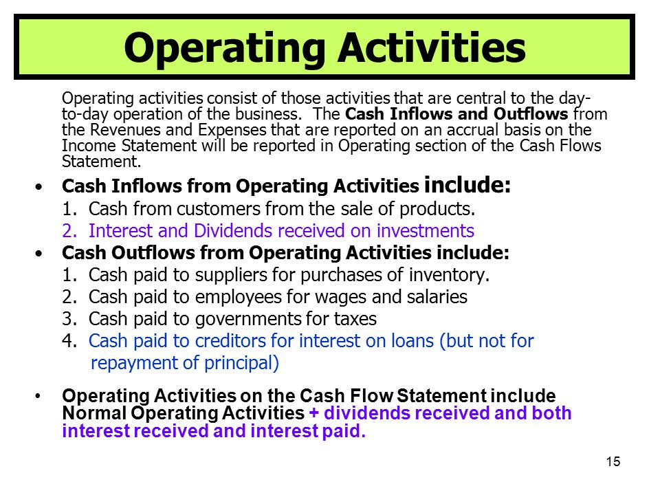 15 Operating Activities Operating activities consist of those activities that are central to the day- to-day operation of the business. The Cash Inflo