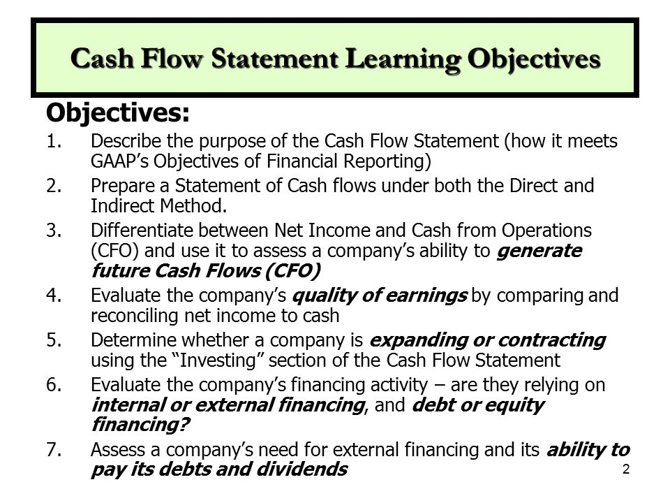 Info from Accrual Based Stmts.Used on Cash Flow Statement Income Statement: (Non Cash Exp.